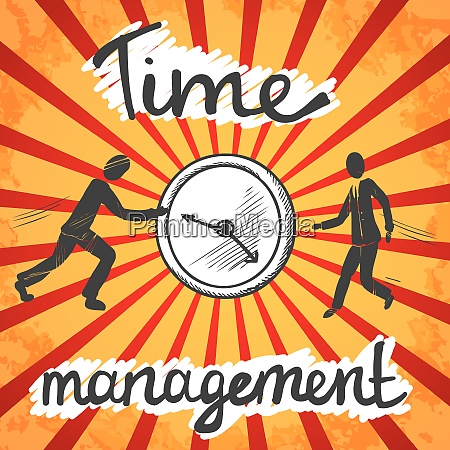 time management poster sketch with business