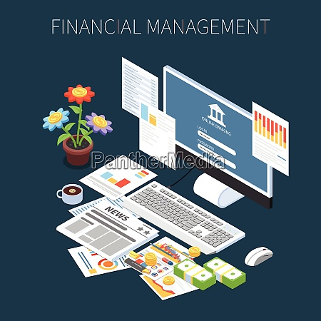 financial management isometric composition with money