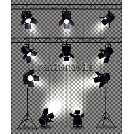 spotlights set with realistic images on