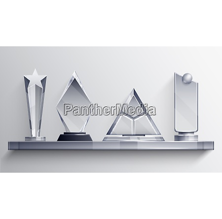 trophies shelf realistic concept with winner