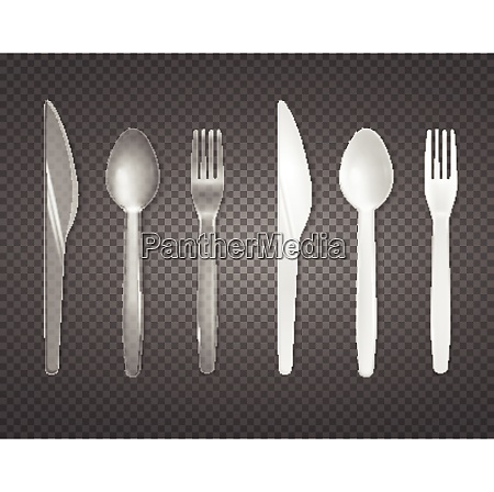 disposable cutlery from clear and white