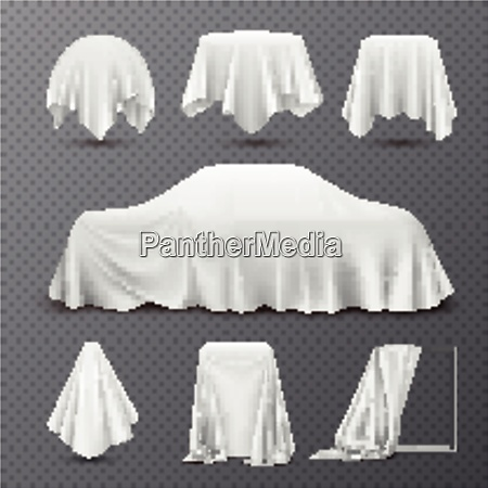 white silk cloth covered objects realistic