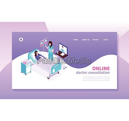 online medizin isometrische horizontale banner mit
