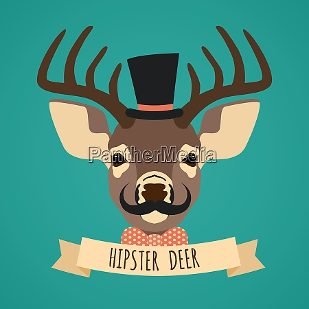animal deer with hat bow tie