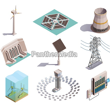 gruene energieproduktion isometrische symbole gesetzt mit
