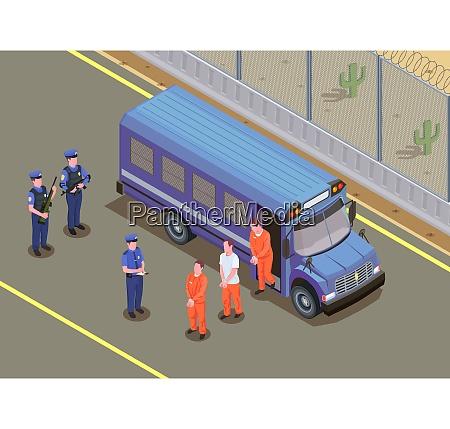 gefangene transportieren isometrische zusammensetzung mit sicherheitsleuten