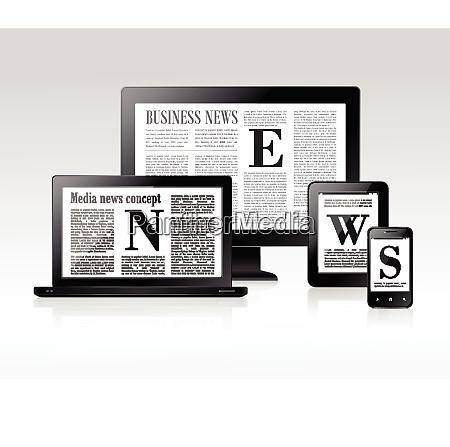 medien business news konzept mit pc