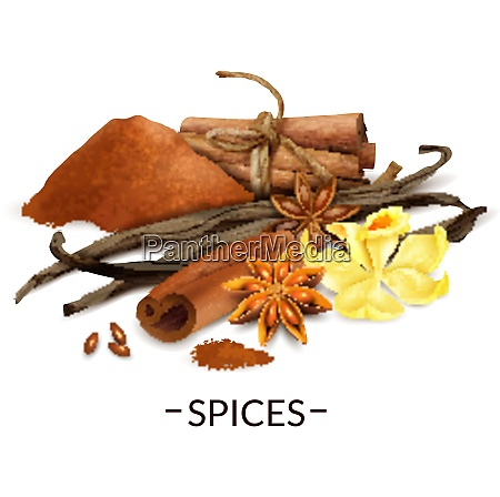 spices realistic composition with vanilla flower