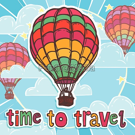 travel poster with colorful flying hot