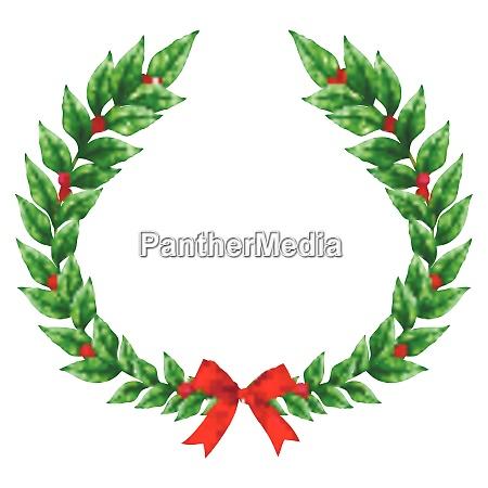 weihnachten gruen kranz mit roten band