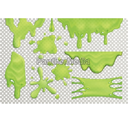 bright green slime drips and blots