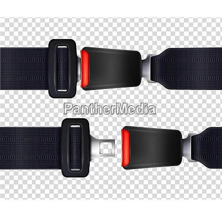 set of realistic seat belts with