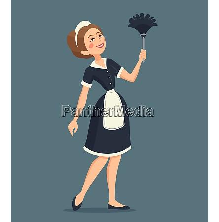 laechelnde putzfrau in einer klassischen uniform