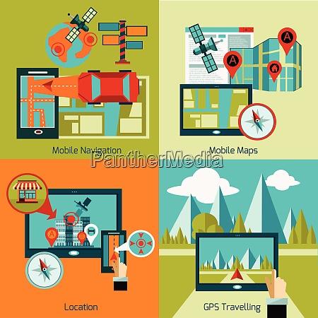 gps navigation design concept set with
