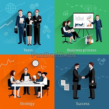teamwork design concept set with team