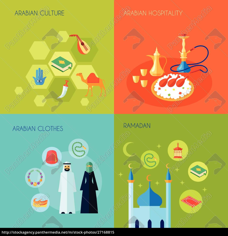 arabische, kultur, design-konzept, set, mit, hospitality-kleidung - 27168815