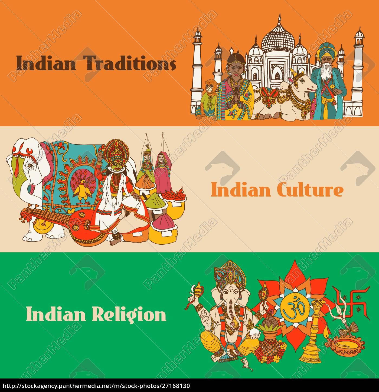 indien, farbige, skizzenbanner, mit, traditionen, kultur - 27168130