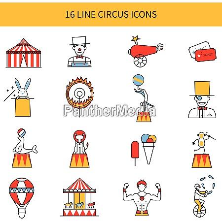 zirkus linie symbole mit clown tier