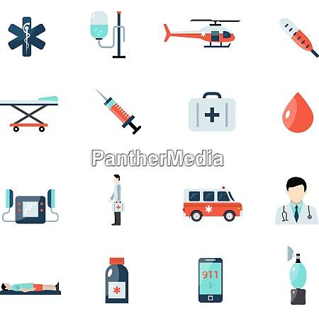 notfall sanitaetssymbole mit erste hilfe symbolen
