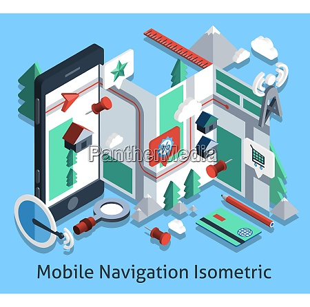 mobile navigation isometric set with smartphone