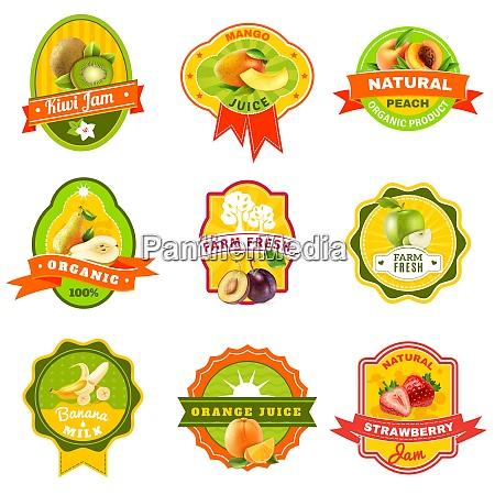 natuerliche biologisch angebaute fruechte produkte embleme