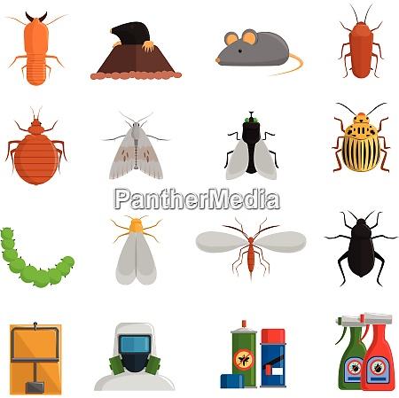 schaedlinge und schaedliche insekten flache symbole