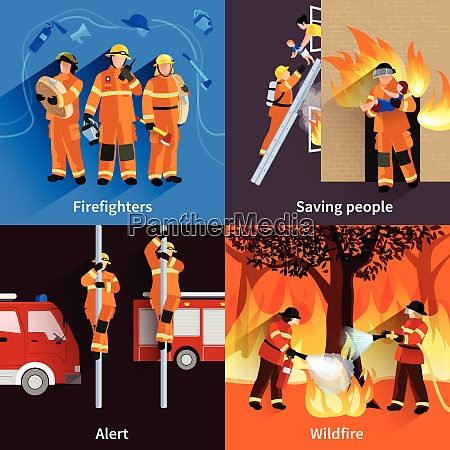 firefighter people 2x2 design compositions of