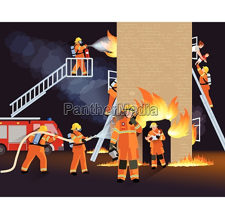 firefighter people design concept with fire
