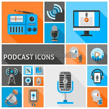 podcast symbole flach gesetzt mit internet