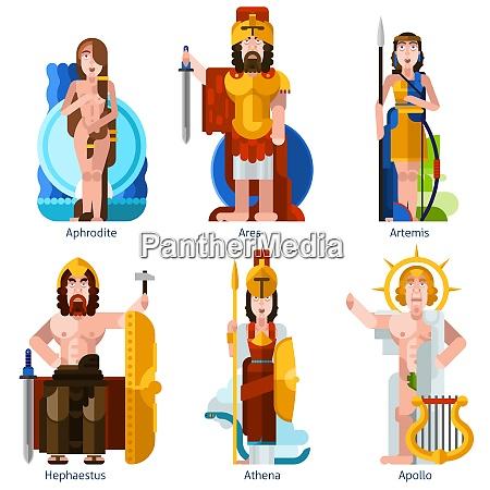 flache farbe olympischegoetter ikonen im cartoon