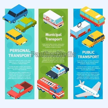 transport isometrische banner vertikales set mit