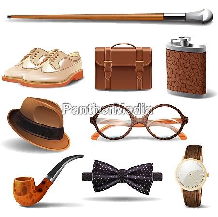 gentleman realistic accessories decorative icons set