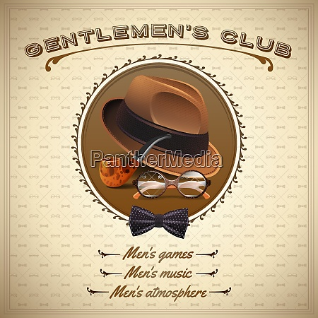 vintage gentlemen style poster with realistic