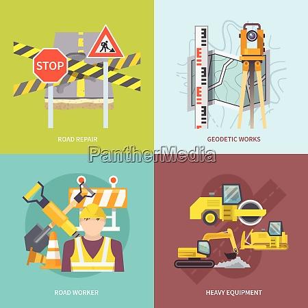 roadworker design konzept set mit schweren