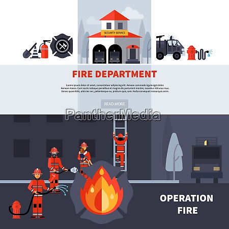 fire department and extinguishing fire banners