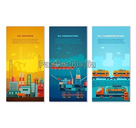 petroleumindustrie vertikale banner gesetzt mit herstellung
