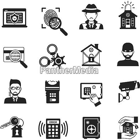sicherheits und alarmsystemsymbole schwarz gesetzt isoliertvektor