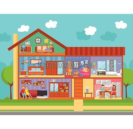 family home interieur flaches design konzept