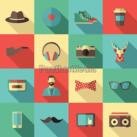 hipster flat long shadow icon set