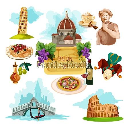 italien touristischen set mit cartoon venedig