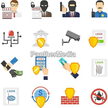 internet banking system sicherheit flache symbole