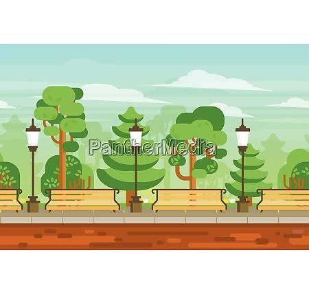 summer day garden landscape with lanterns