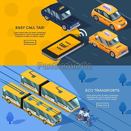city transport horizontal banners set of