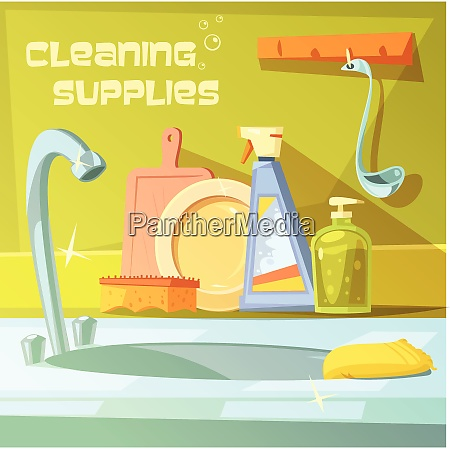 cleaning supplies cartoon background with soap