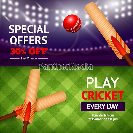cricket horizontale banner set mit sport
