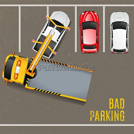 schlechtes parken top view hintergrund abschleppen