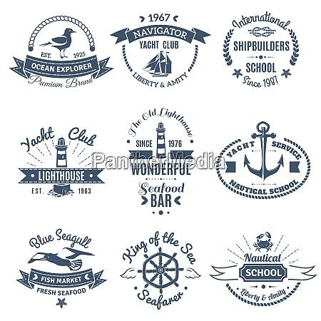 monochrome nautische marine etiketten und logos