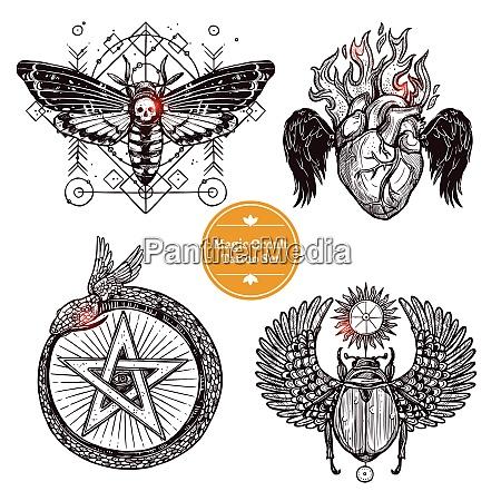 okkulte tattoo skizze konzept okkulte tattoo