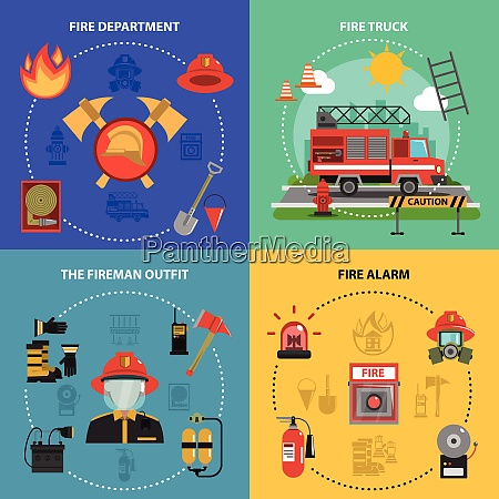 fire fighting design concept set with