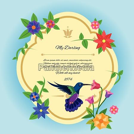 gruss postkarte mit colibri vogel und
